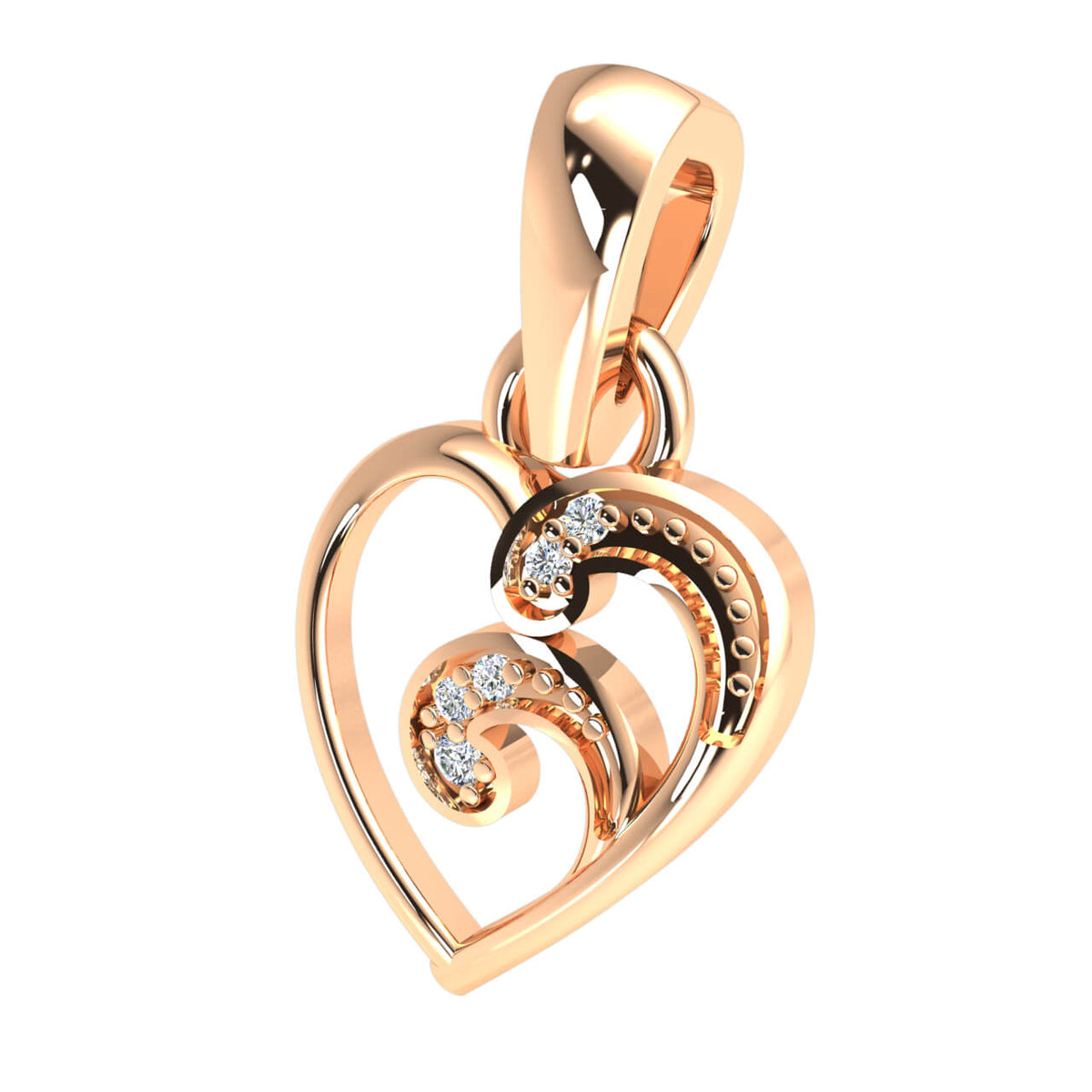 0.03 Ct 5-Stone Drop Round GH SI1 Diamond Women's Heart Pendant 10k Gold