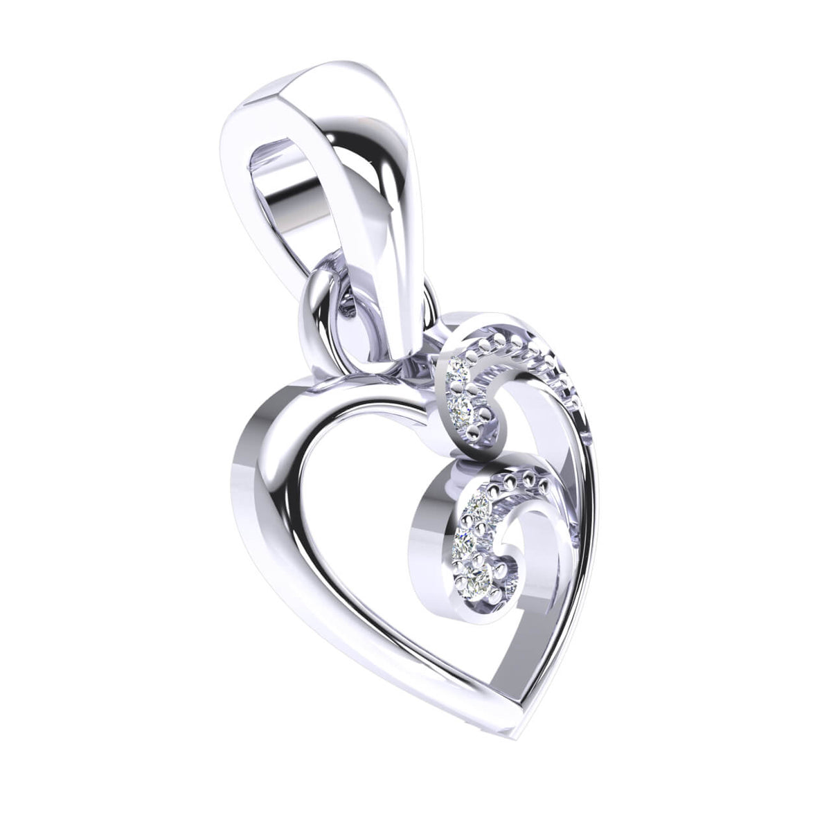 0.03 Ct 5-Stone Drop Round GH SI2 Diamond Women's Heart Pendant 14k Gold