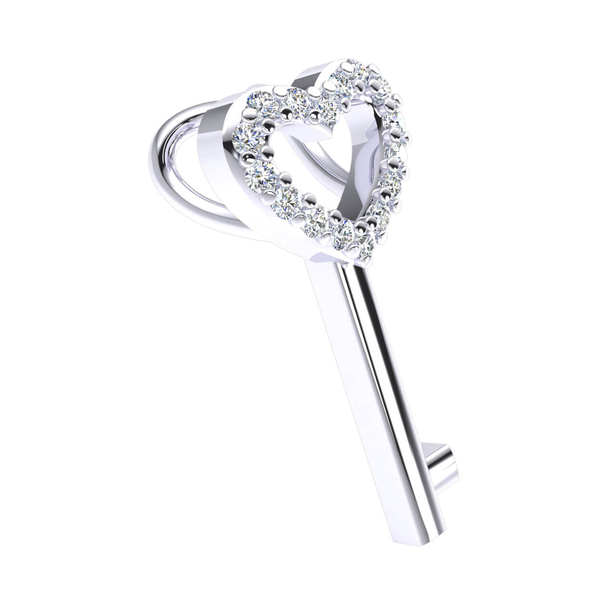 0.07 Ct Drop Round GH I1-I2 Diamond Heart Pendant For Women 925 Sterling Silver