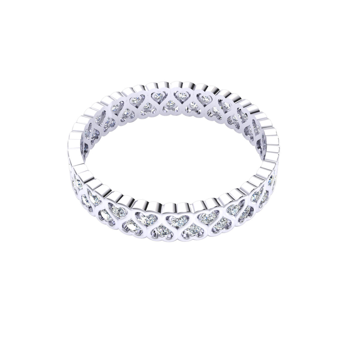 0.45 Ct Round FG VS Diamond Heart Eternity Wedding Band For Women 14k Gold