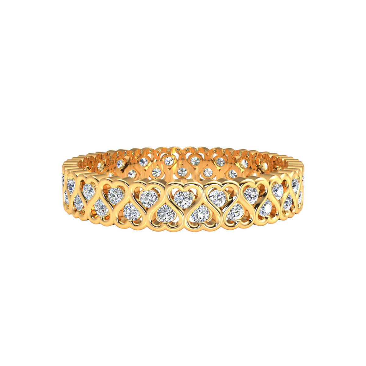 0.45 Ct Round GH SI1 Diamond Heart Eternity Wedding Band For Women 10k Gold