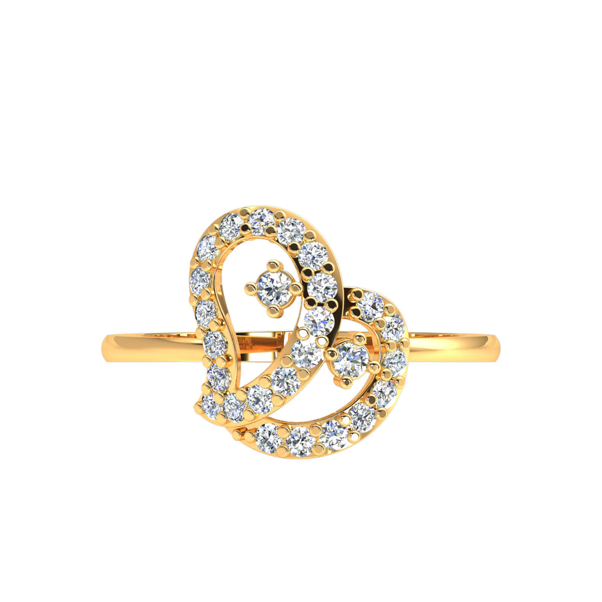0.30 Ct Round FG VS Diamond Pave Drop Fancy Ring For Women 14k Gold