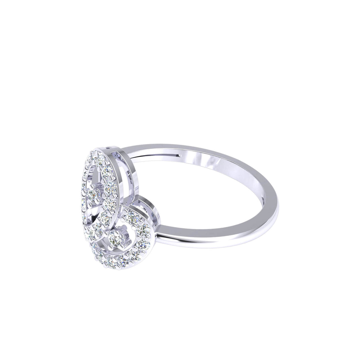 0.30 Ct Round GH I1-I2 Diamond Pave Drop Fancy Ring For Women 925 Silver