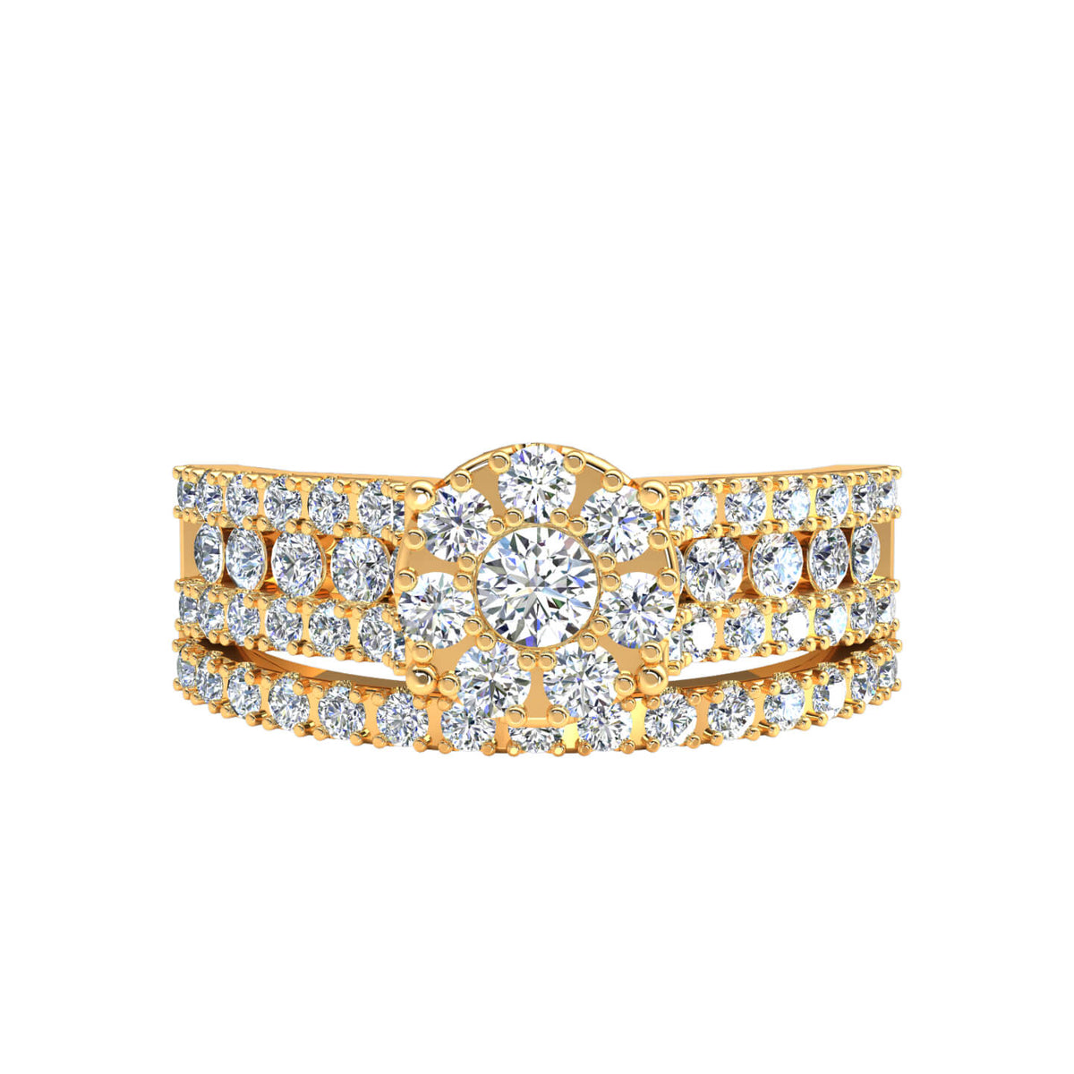 1.10 Ct Round GH SI1 Diamond Cluster Accents Engagement Set For Women 14k Gold