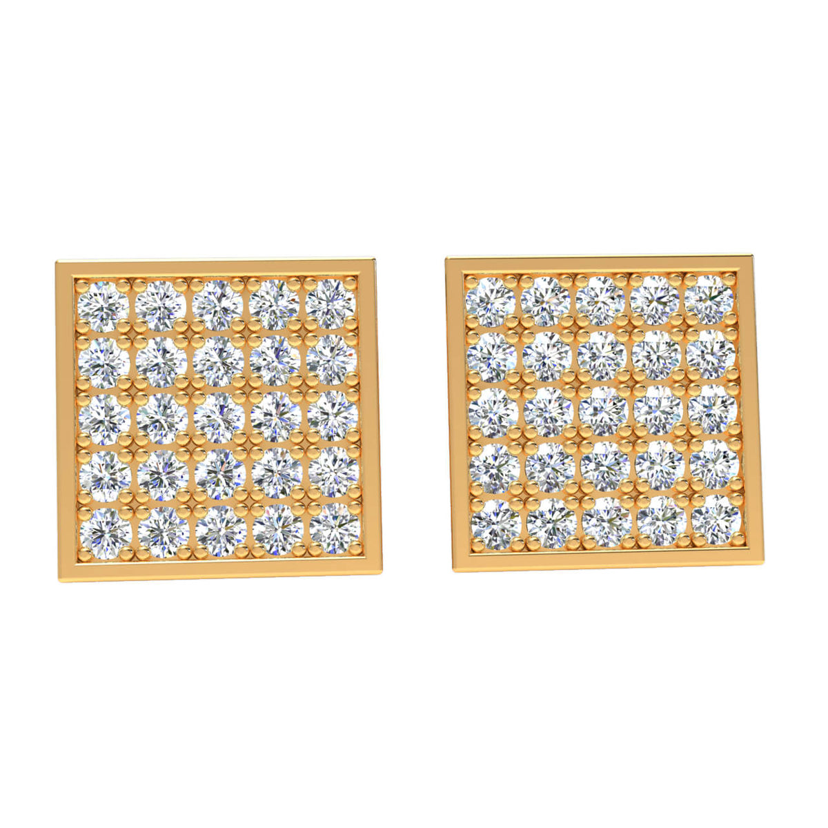 1.45 Ct Round GH SI2 Diamond Gallery Cluster Womens Stud Earrings 14k Gold