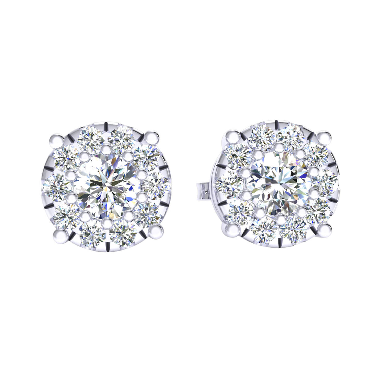 1.00 Ct Round GH I1-I2 Diamond Circle Womens Stud Earrings 925 Sterling Silver
