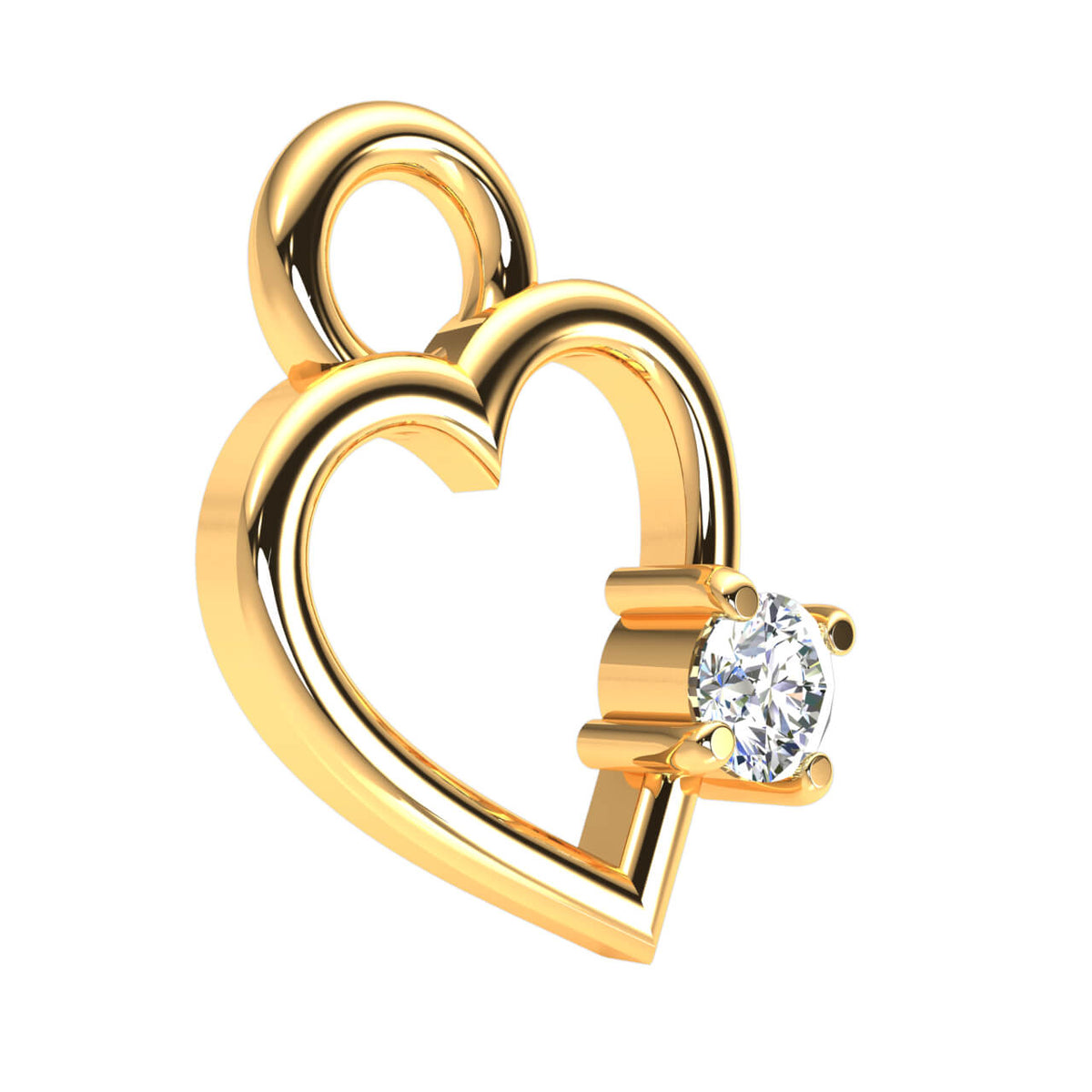 0.03 Ct Round GH I1-I2 Diamond Solitaire Heart Pendant 925 Sterling Silver