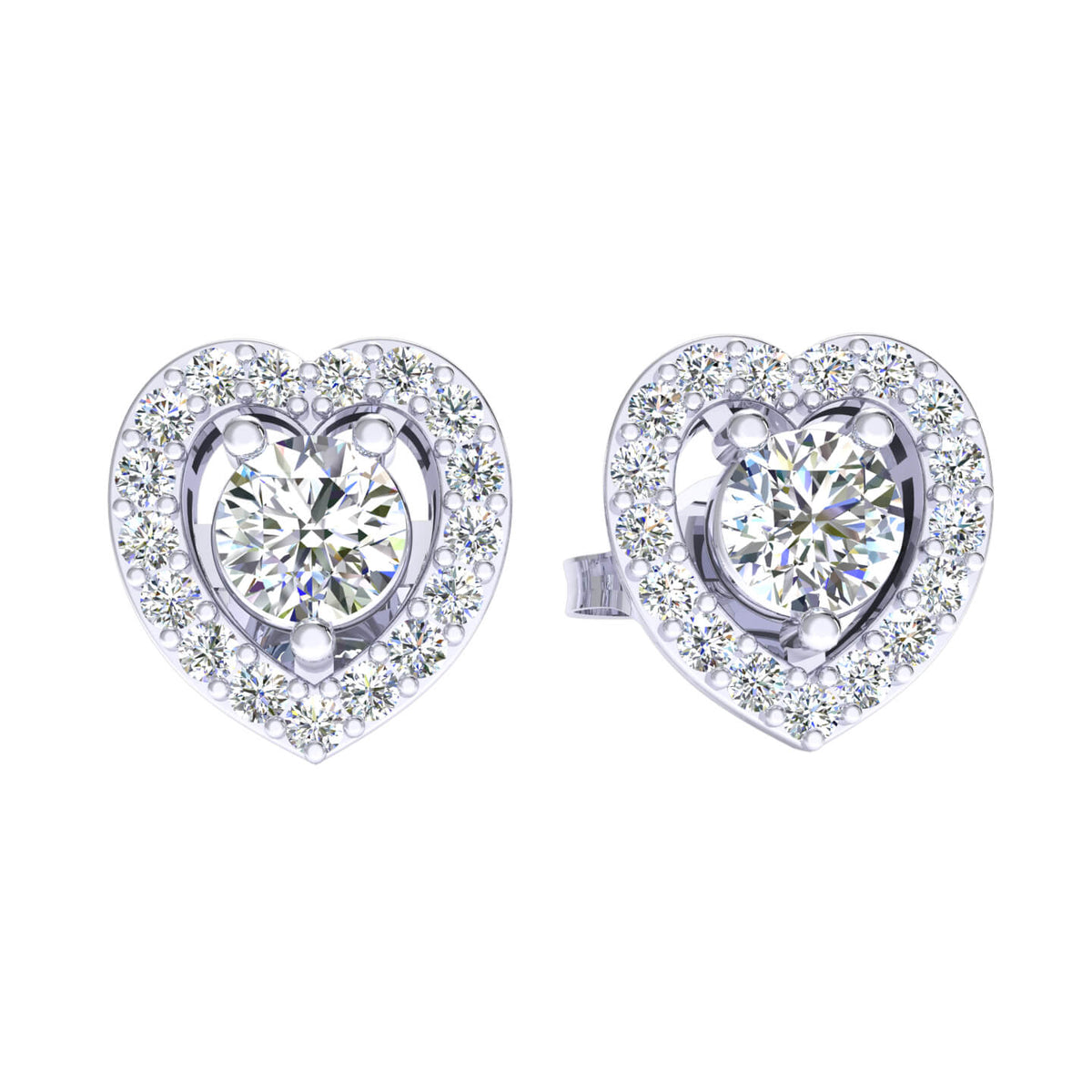 0.75 Ct Heart Round H SI2 Diamond Stud Earrings For Womens 10k Gold