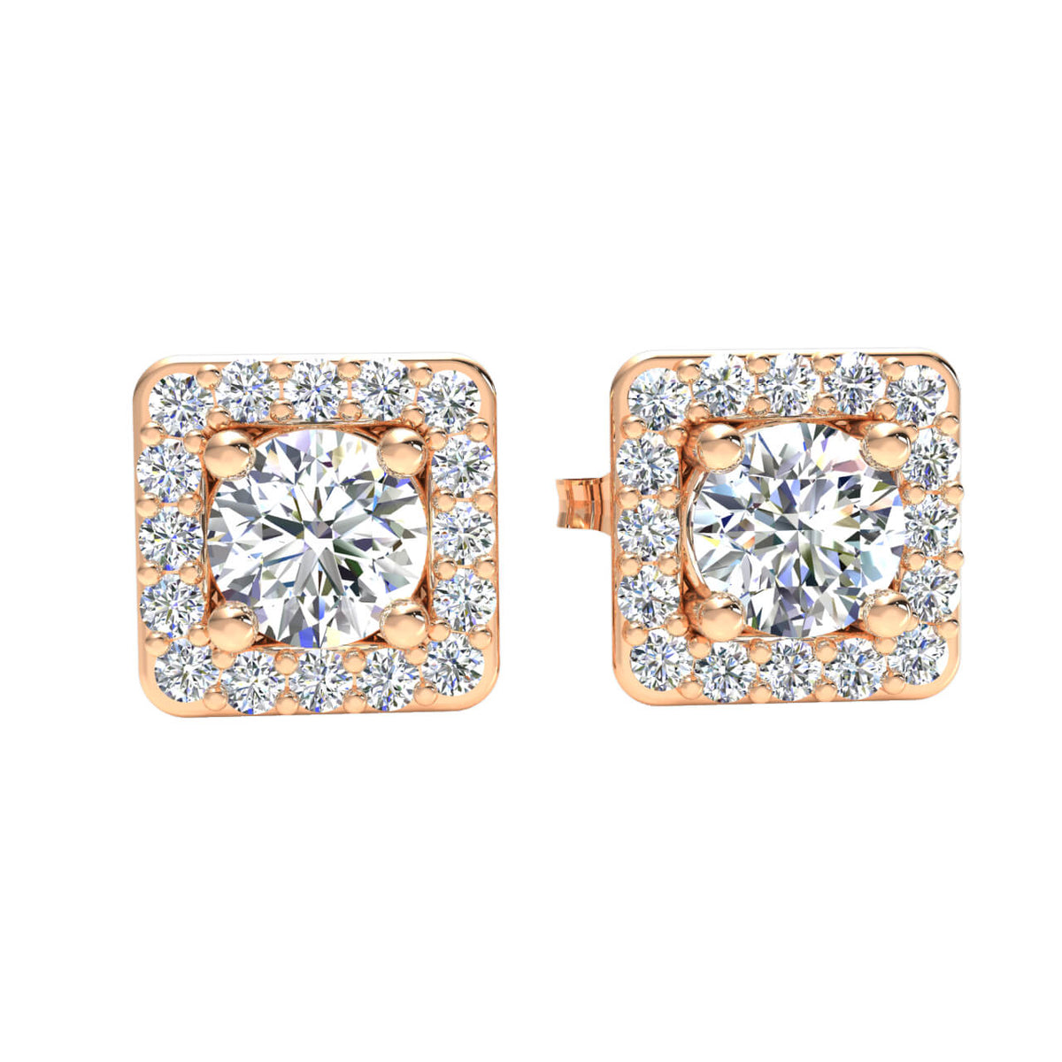 0.66 Ct Square Halo Round GH SI2 Diamond Stud Earrings 14k Gold