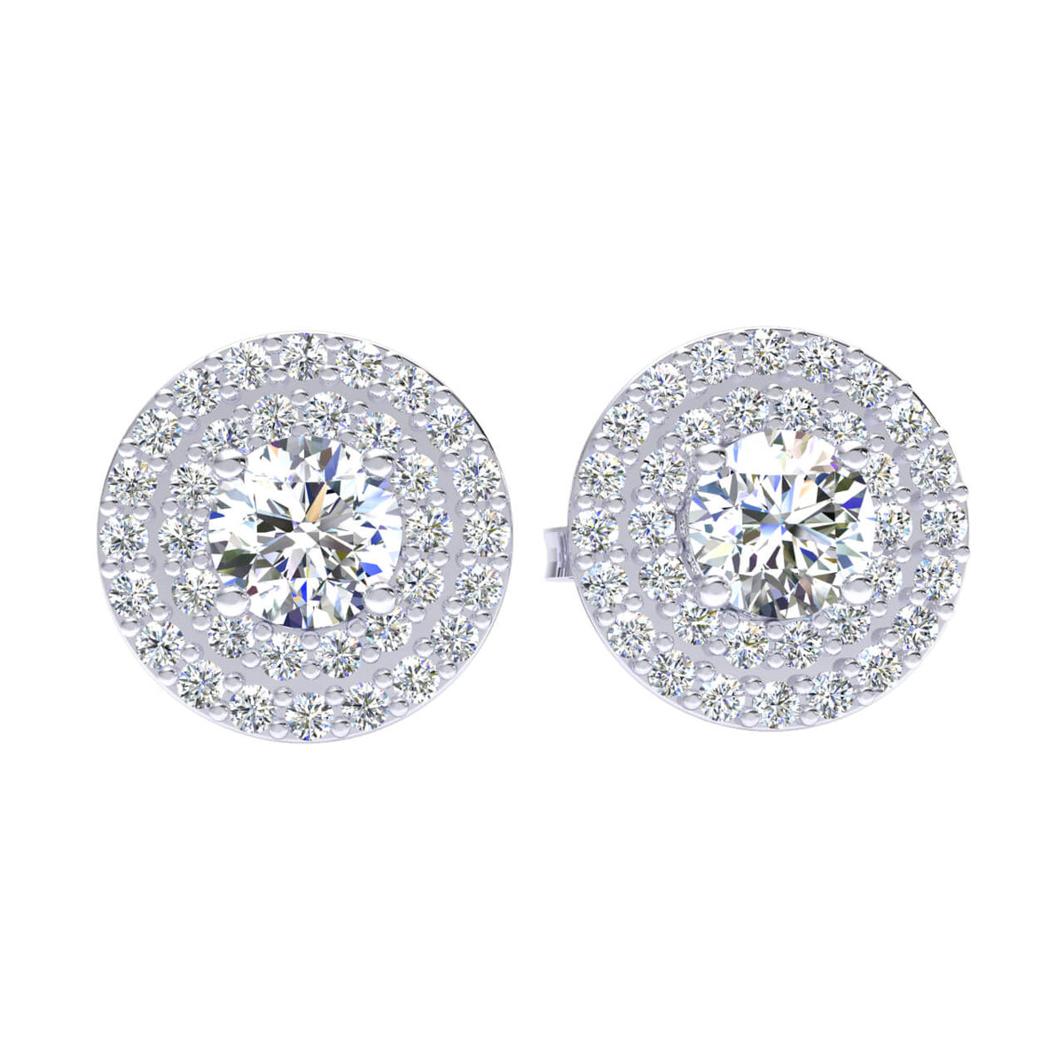 0.85 Ct Round GH I1-I2 Diamond Halo Solitaire Unisex Stud Earrings 925 Sterling Silver