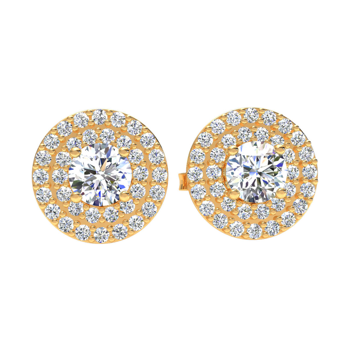 0.85 Ct Round GH SI2 Diamond Halo Solitaire Unisex Stud Earrings 14k Gold