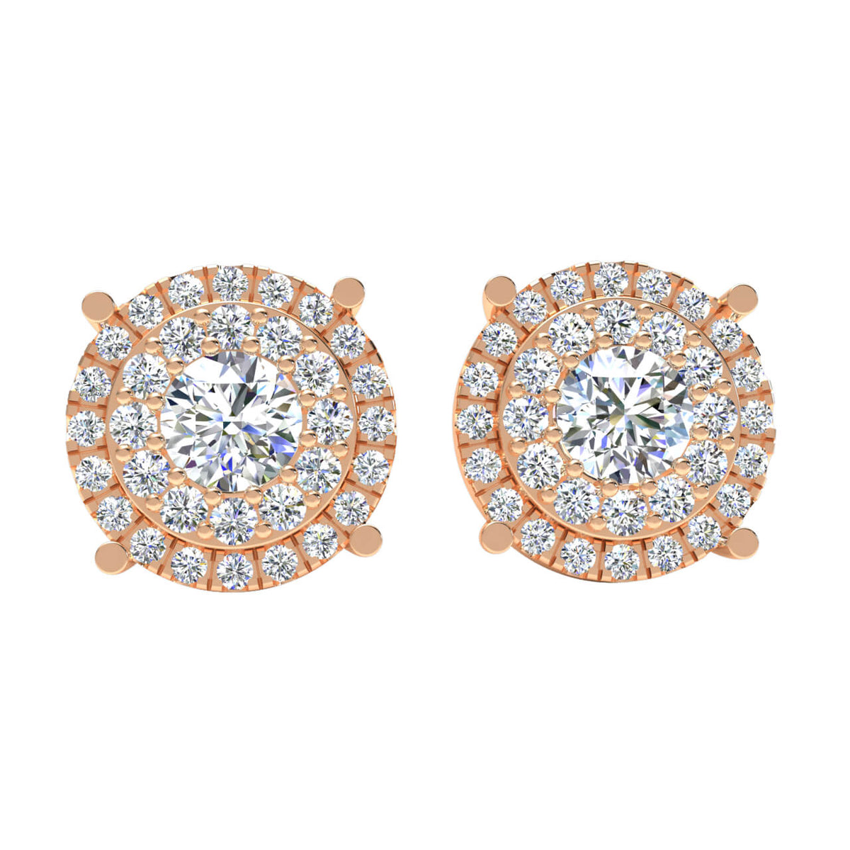 1.90 Ct Halo Round FG VS Diamond Stud Earrings For Adults 14k Gold