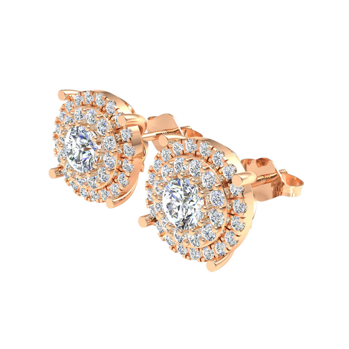 1.90 Ct Halo Round H SI2 Diamond Stud Earrings For Adults 10k Gold