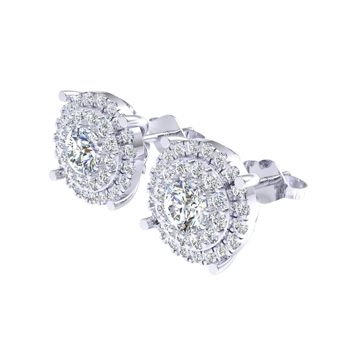 1.90 Ct Halo Round F VS1 Diamond Stud Earrings For Adults 18k Gold
