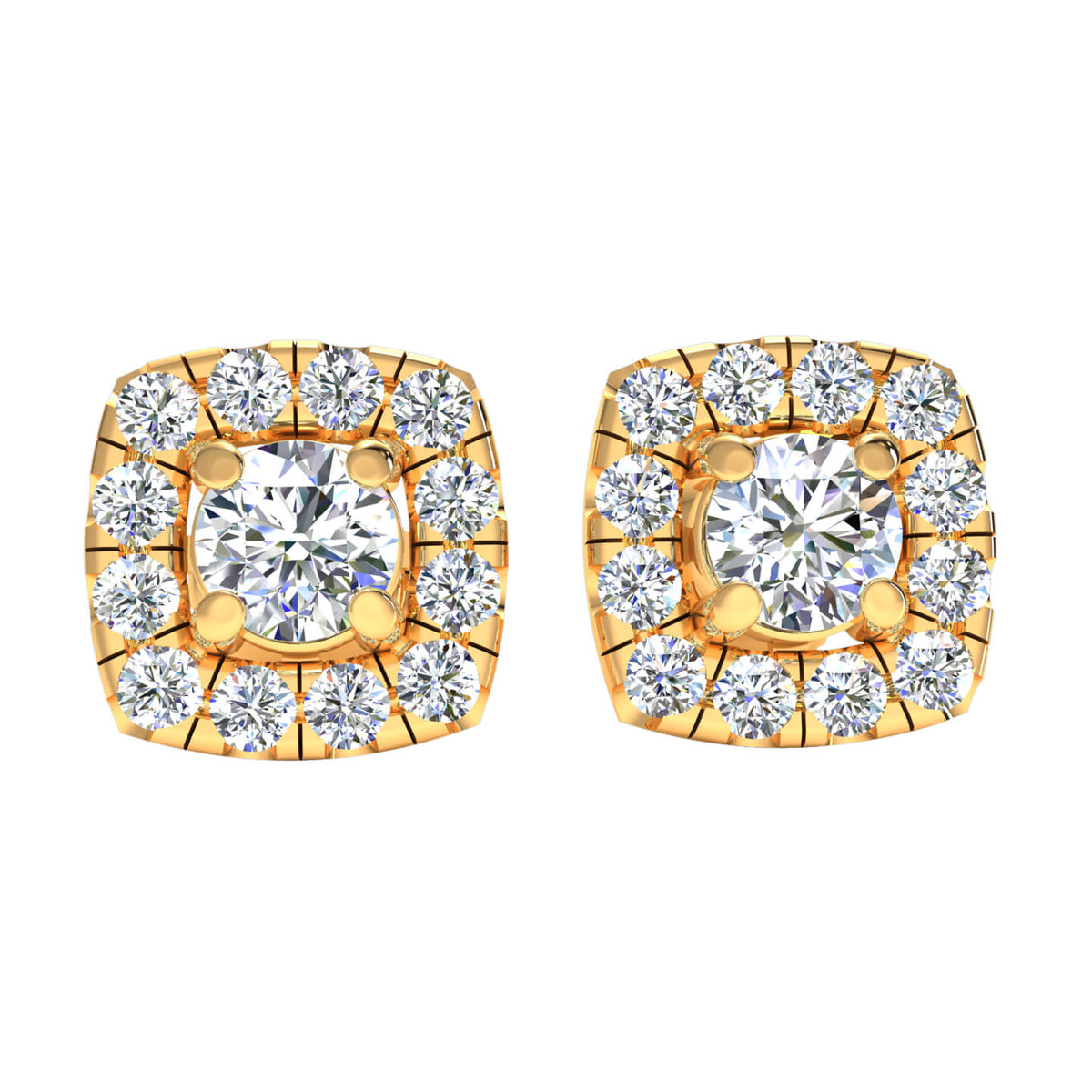 0.95 Ct Solitaire Halo Round GH SI2 Diamond Stud Earrings 14k Gold