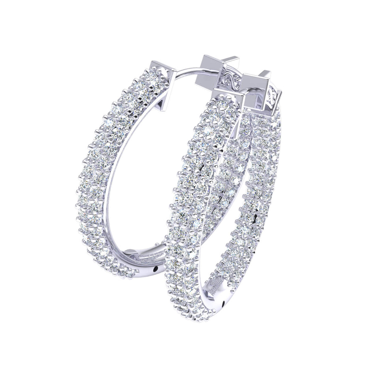 2.60 Ct Round H SI2 Diamond Inside Out Hinged Unisex Hoop Earrings 10k Gold