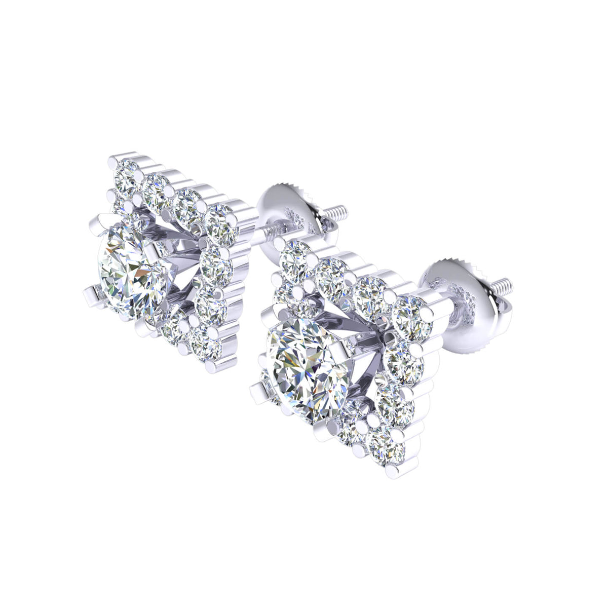 1.00 Ct Round GH I1-I2 Diamond Solitaire Womens Stud Earrings 925 Sterling Silver