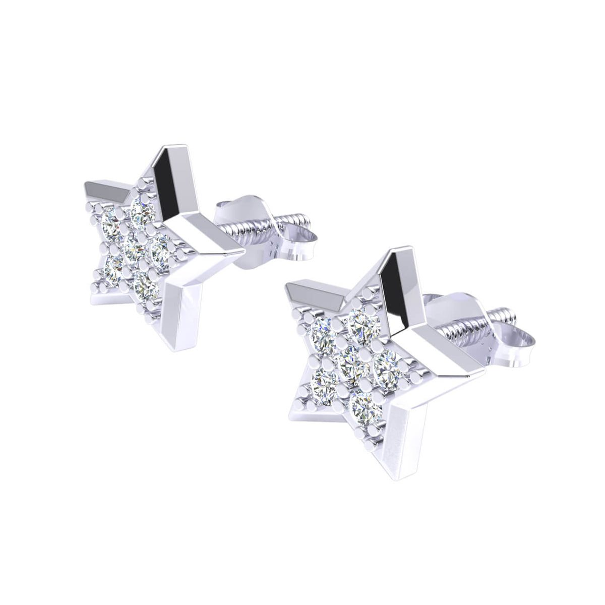0.12 Ct Star Round GH I1-I2 Diamond Stud Earrings For Womens 925 Sterling Silver