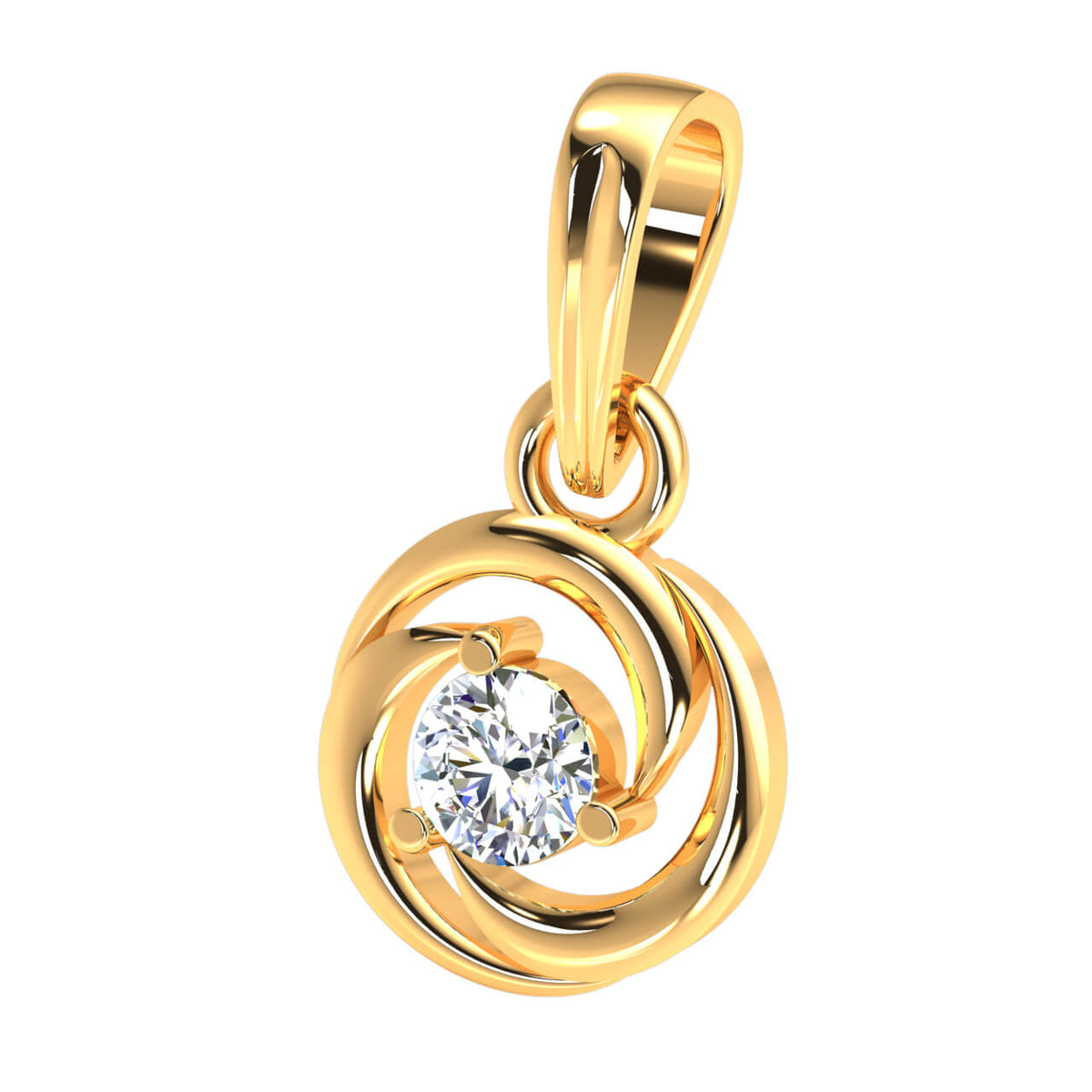 0.17 Ct Drop Round GH I1-I2 Diamond Women's Solitaire Pendant 925 Sterling Silver