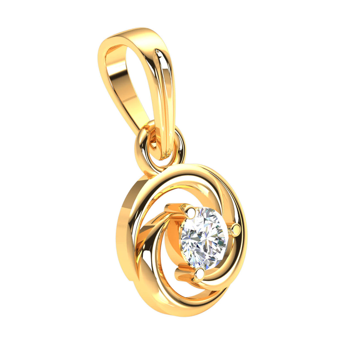 0.17 Ct Drop Round GH SI2 Diamond Women's Solitaire Pendant 14k Gold