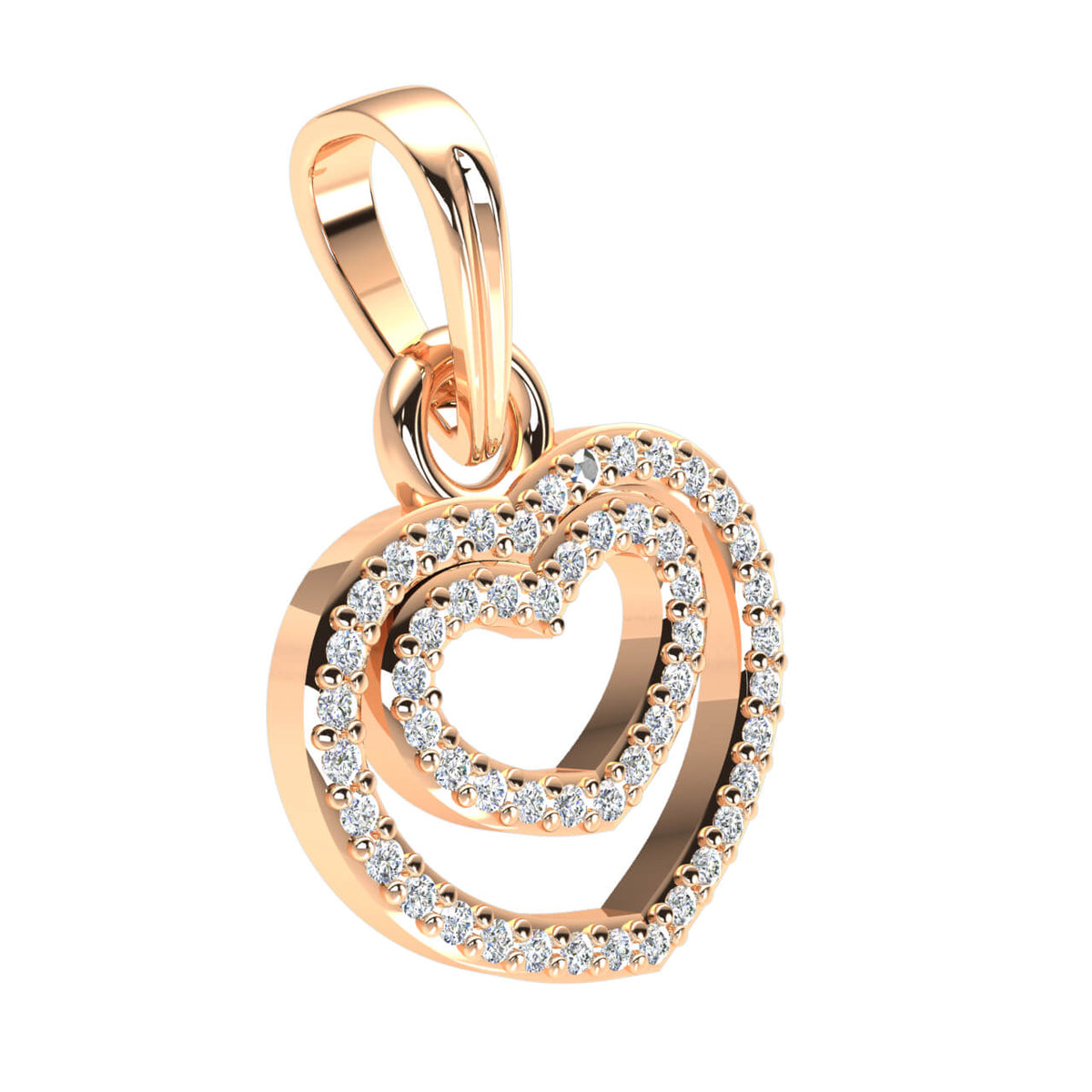 0.20 Ct Drop Heart Pendant For Women Round H SI2 Diamond 10k Gold