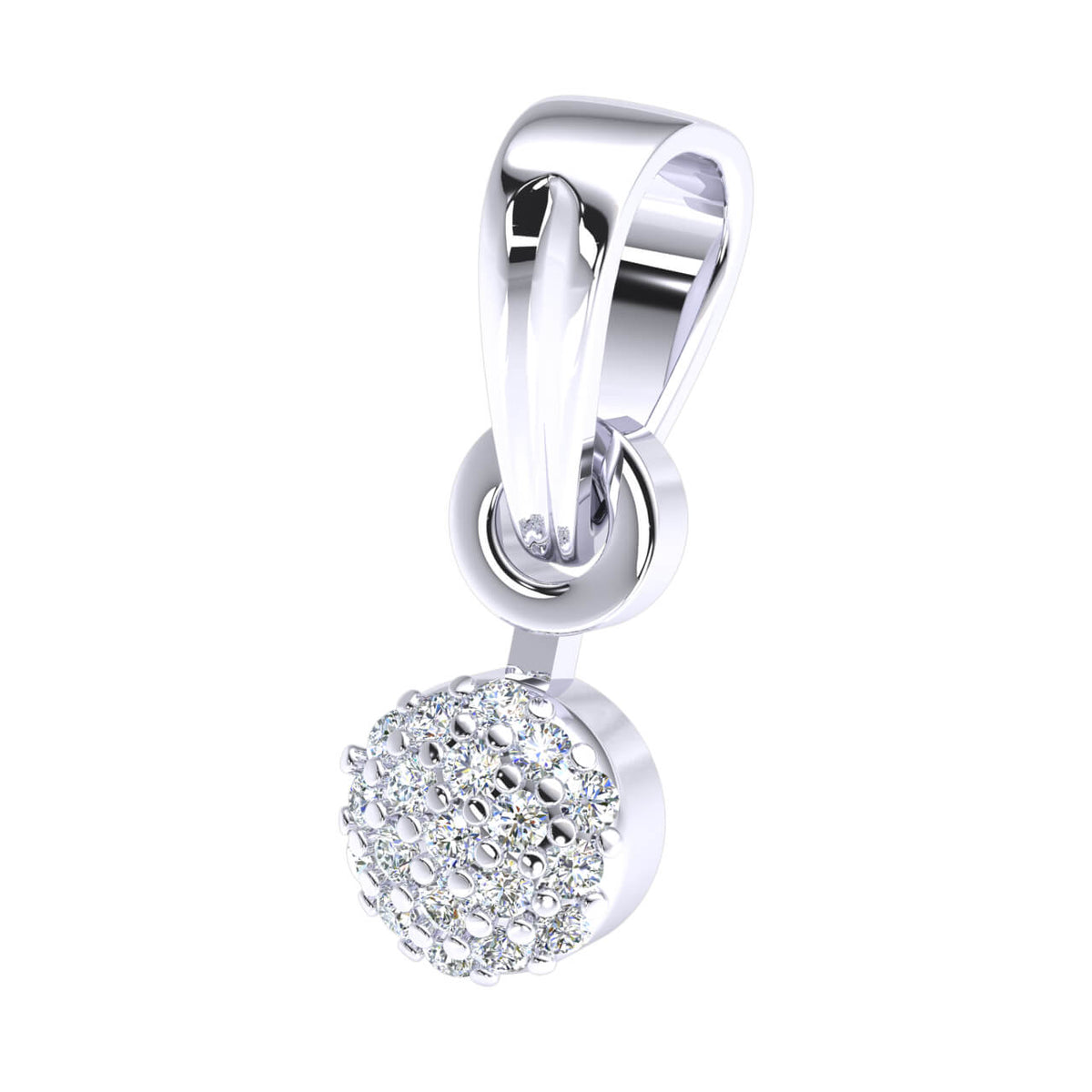 0.07 Ct Round GH I1-I2 Diamond Cluster Circle Drop Pendant 925 Sterling Silver