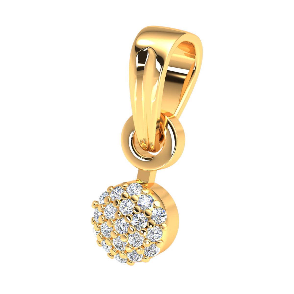 0.07 Ct Round FG VS Diamond Cluster Circle Drop Pendant 14k Gold