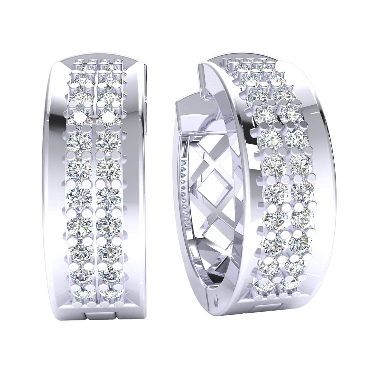 0.45 Ct Hinged 2Row Round GH I1-I2 Diamond Hoop Earrings 925 Sterling Silver