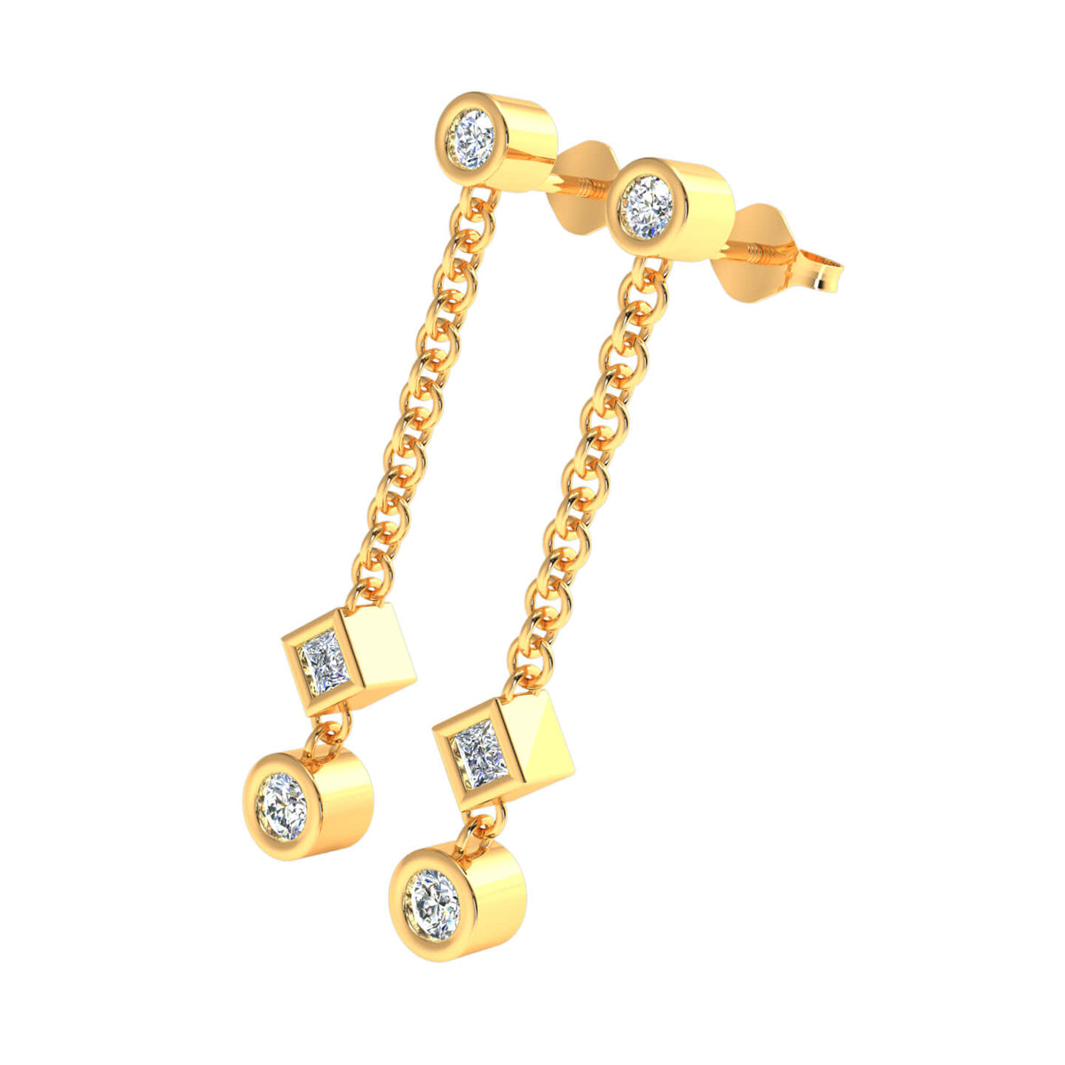 0.33 Ct Alternative 3 Stones Womens Dangling Earrings 14k Gold