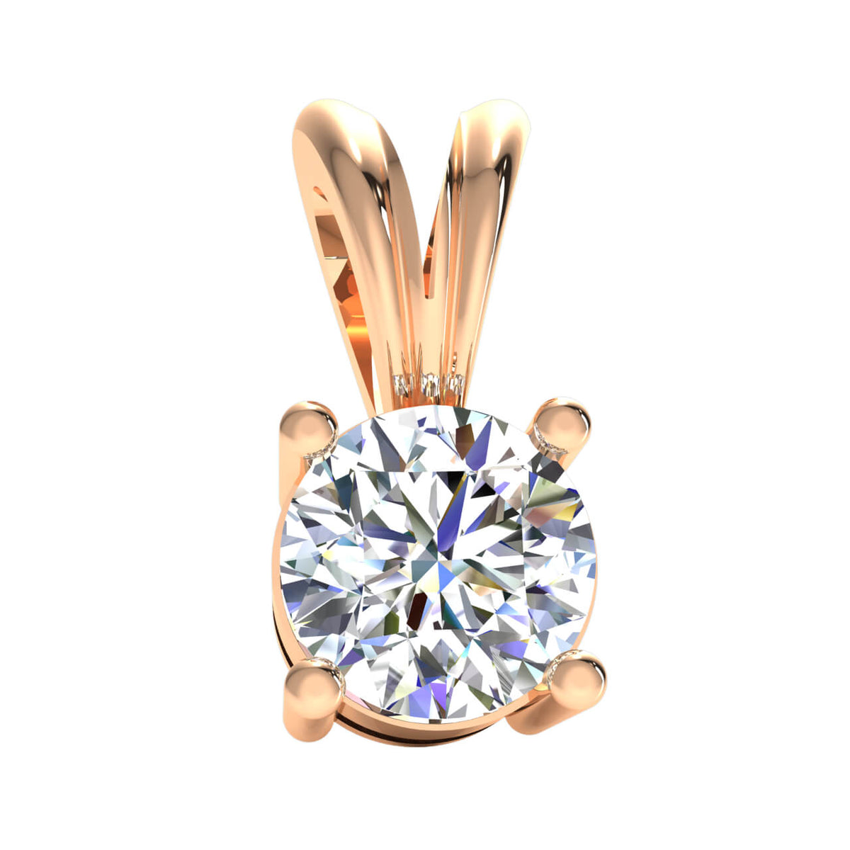 0.25 Ct Drop Solitaire Pendant For Adults Round H SI2 Diamond 10k Gold