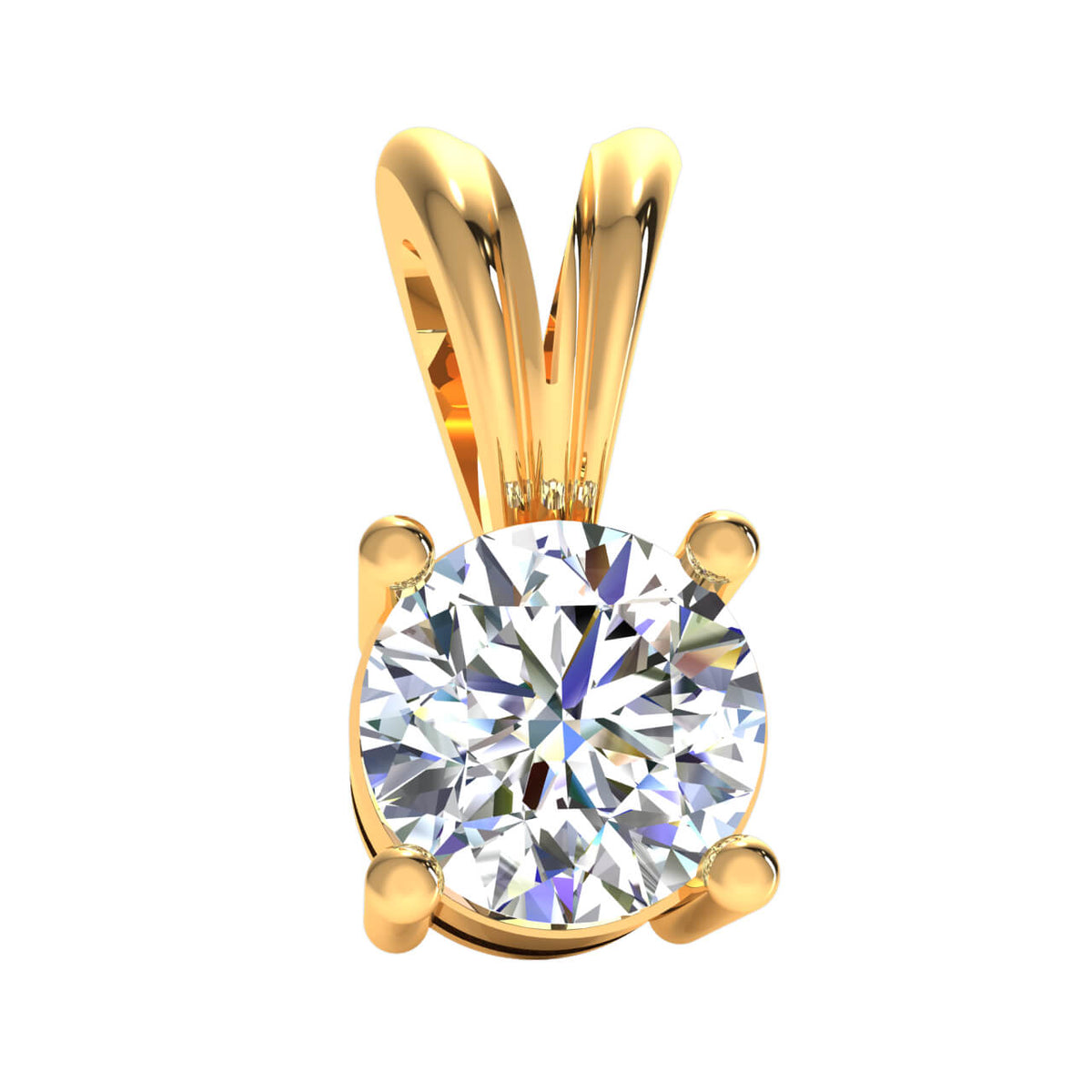 0.25 Ct Drop Solitaire Pendant For Adults Round GH SI2 Diamond 14k Gold