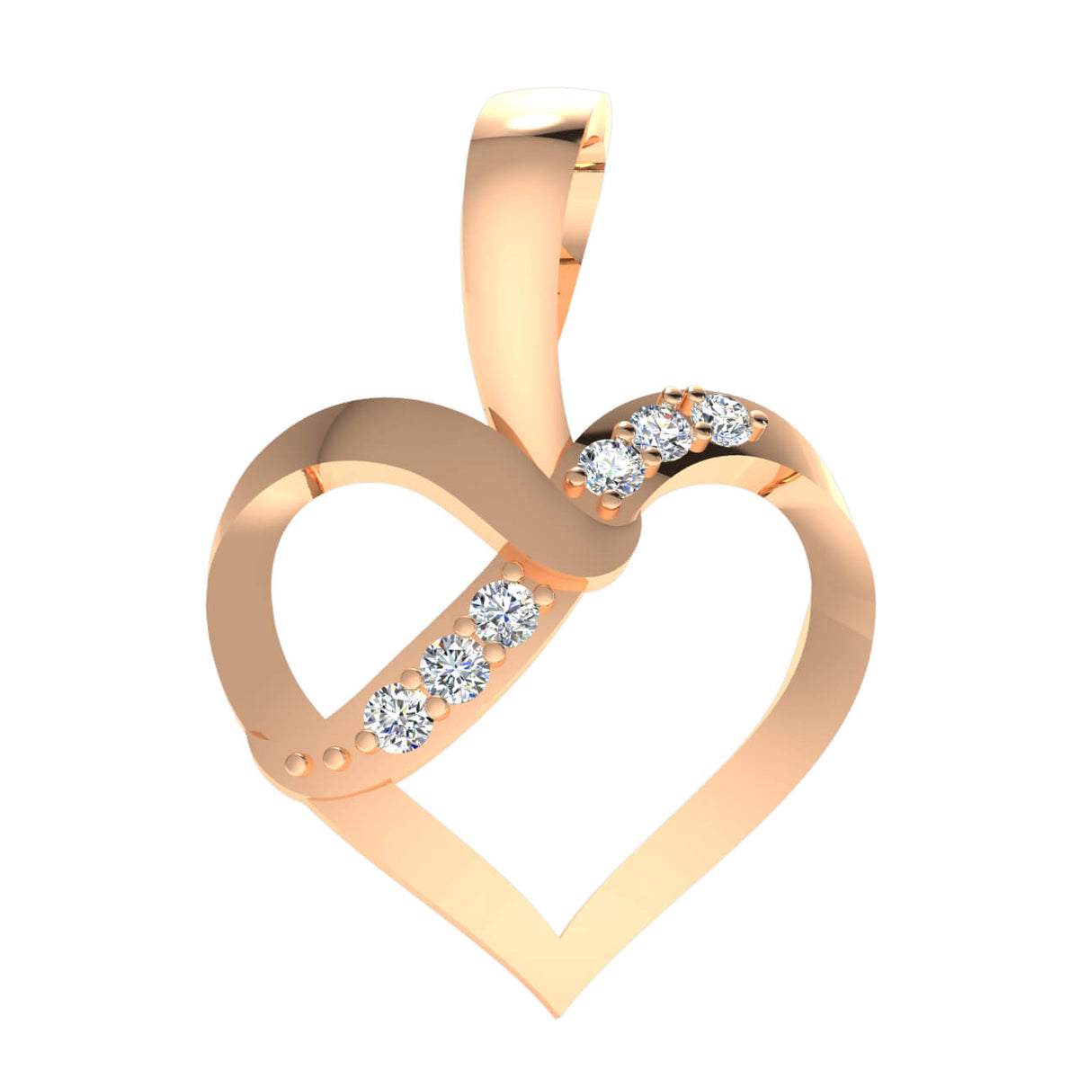 0.05 Ct Round GH SI2 Diamond Stylish Drop Heart Pendant 14k Gold
