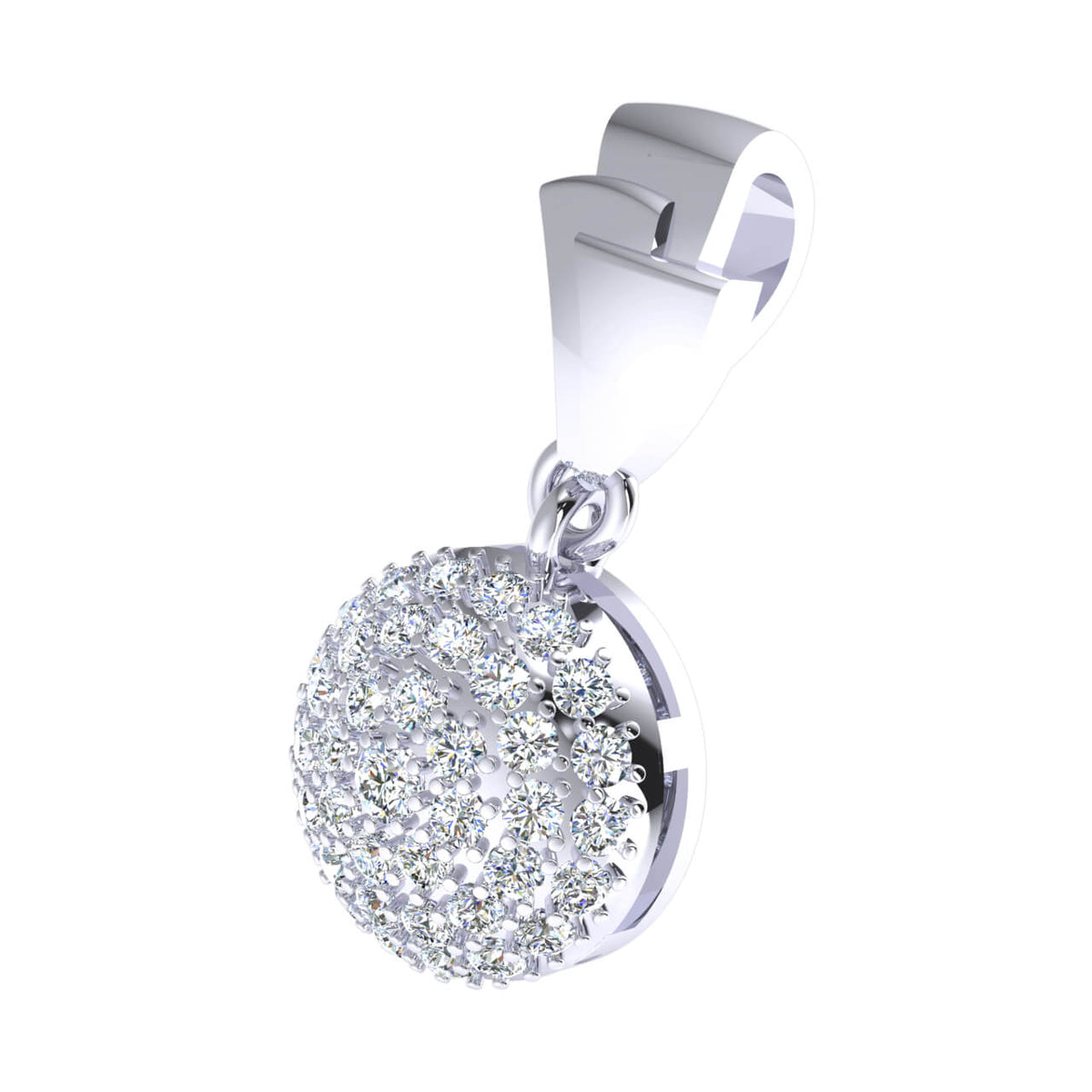 0.55 Ct Cluster Circle Round GH I1-I2 Diamond Women's Drop Pendant 925 Sterling Silver