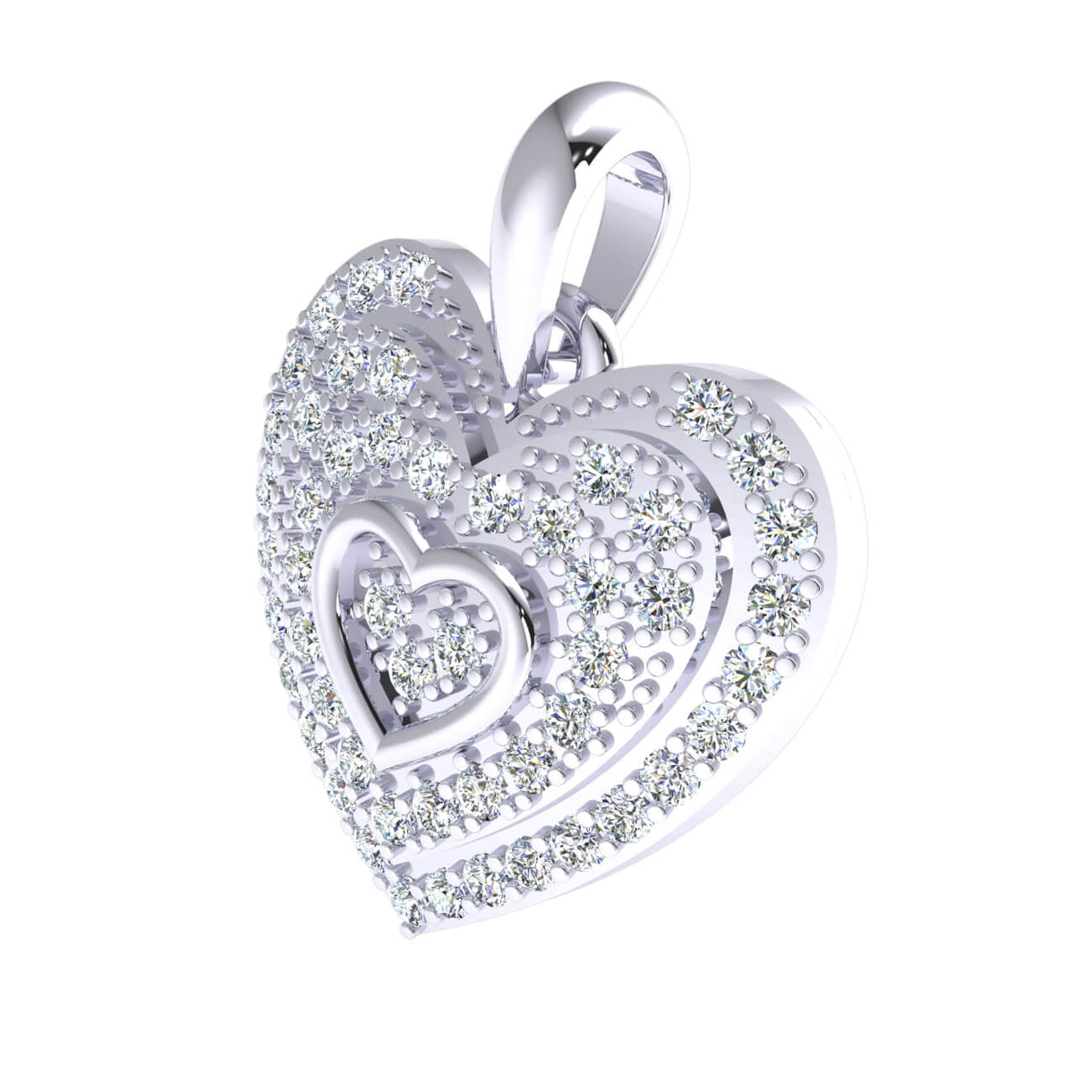 0.50 Ct Round GH I1-I2 Diamond Heart Pendant For Adults 925 Sterling Silver