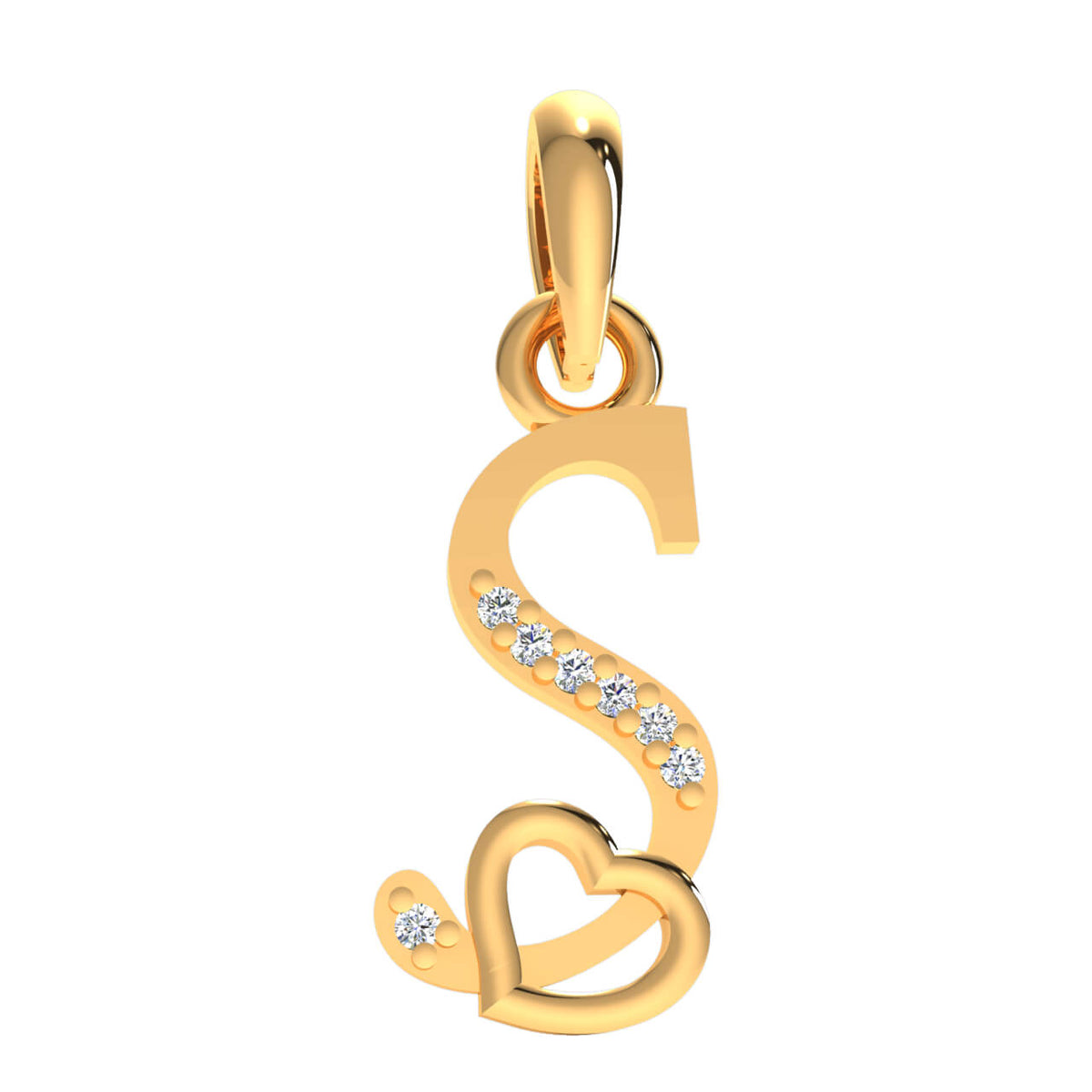 0.03 Ct Drop Initial Pendant For Women Round GH SI2 Diamond 14k Gold