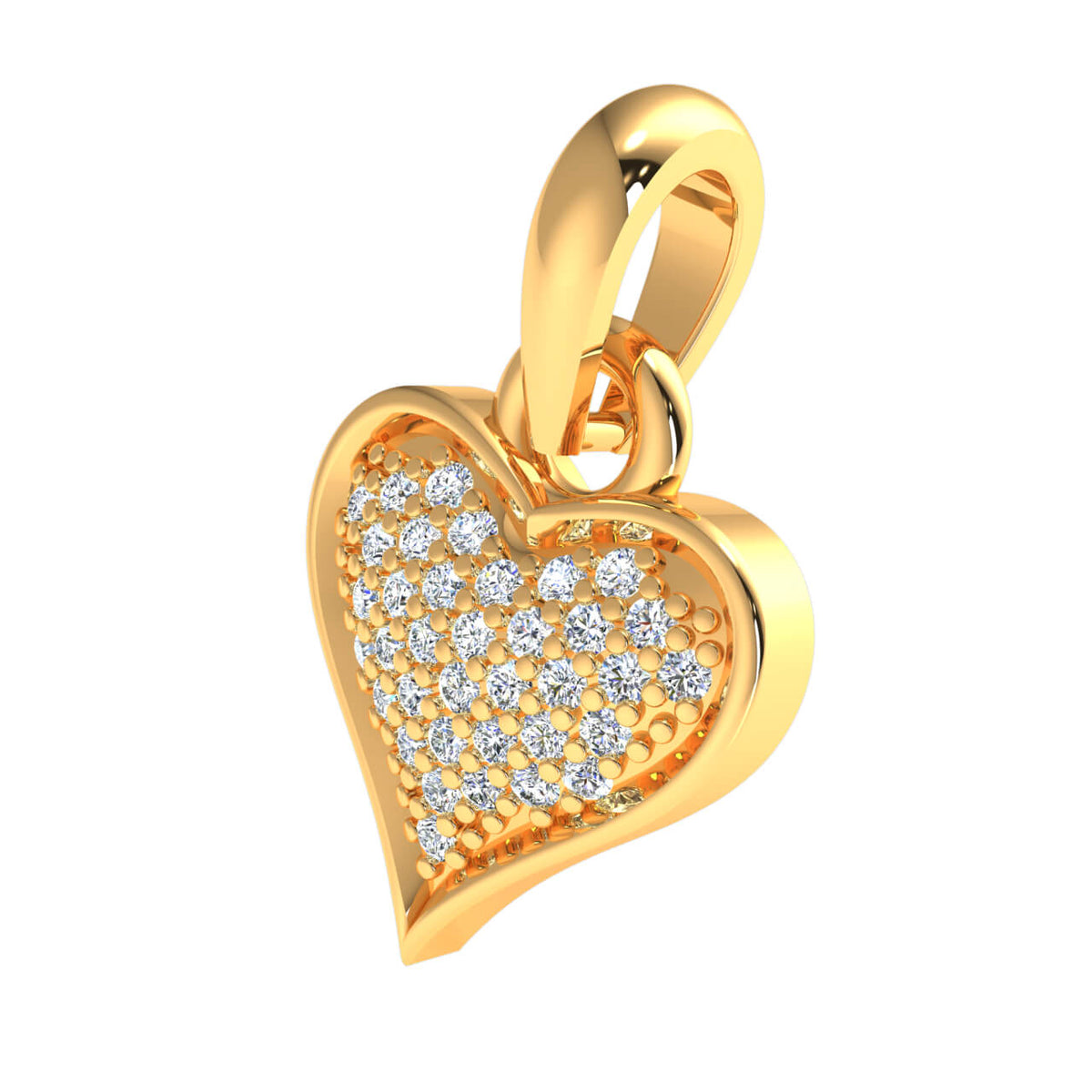 0.17 Ct Drop Heart Pendant For Adults Round GH SI1 Diamond 14k Gold