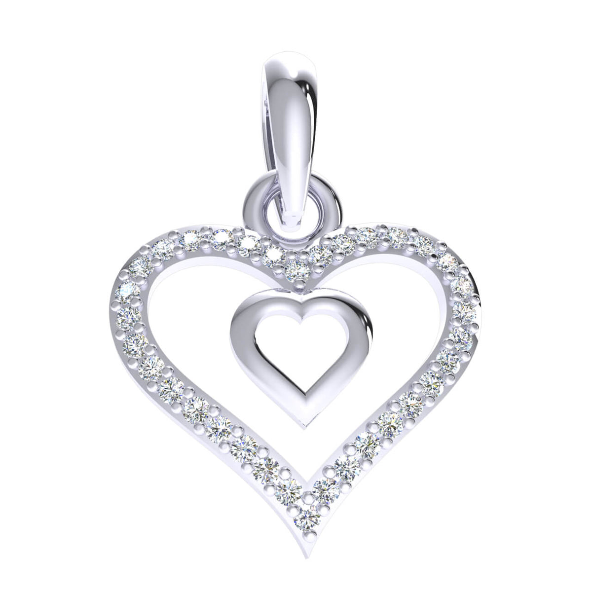 0.15 Ct Round GH I1-I2 Diamond Halo Drop Heart Pendant 925 Sterling Silver