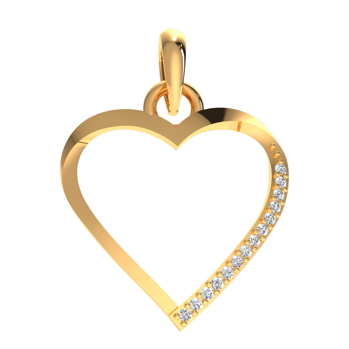 0.06 Ct Love Drop Round GH I1-I2 Diamond Unisex Heart Pendant 925 Sterling Silver