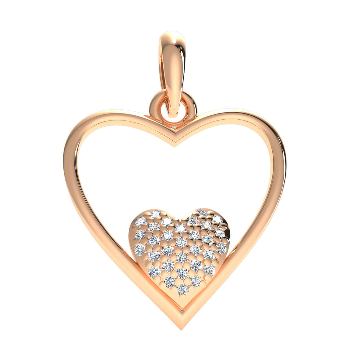 0.15 Ct Cluster Round H SI2 Diamond Heart Pendant For Adults 10k Gold