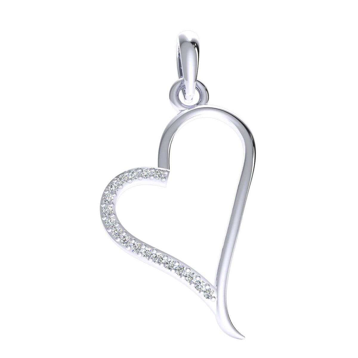 0.08 Ct Drop Heart Pendant For Women Round H SI2 Diamond 10k Gold