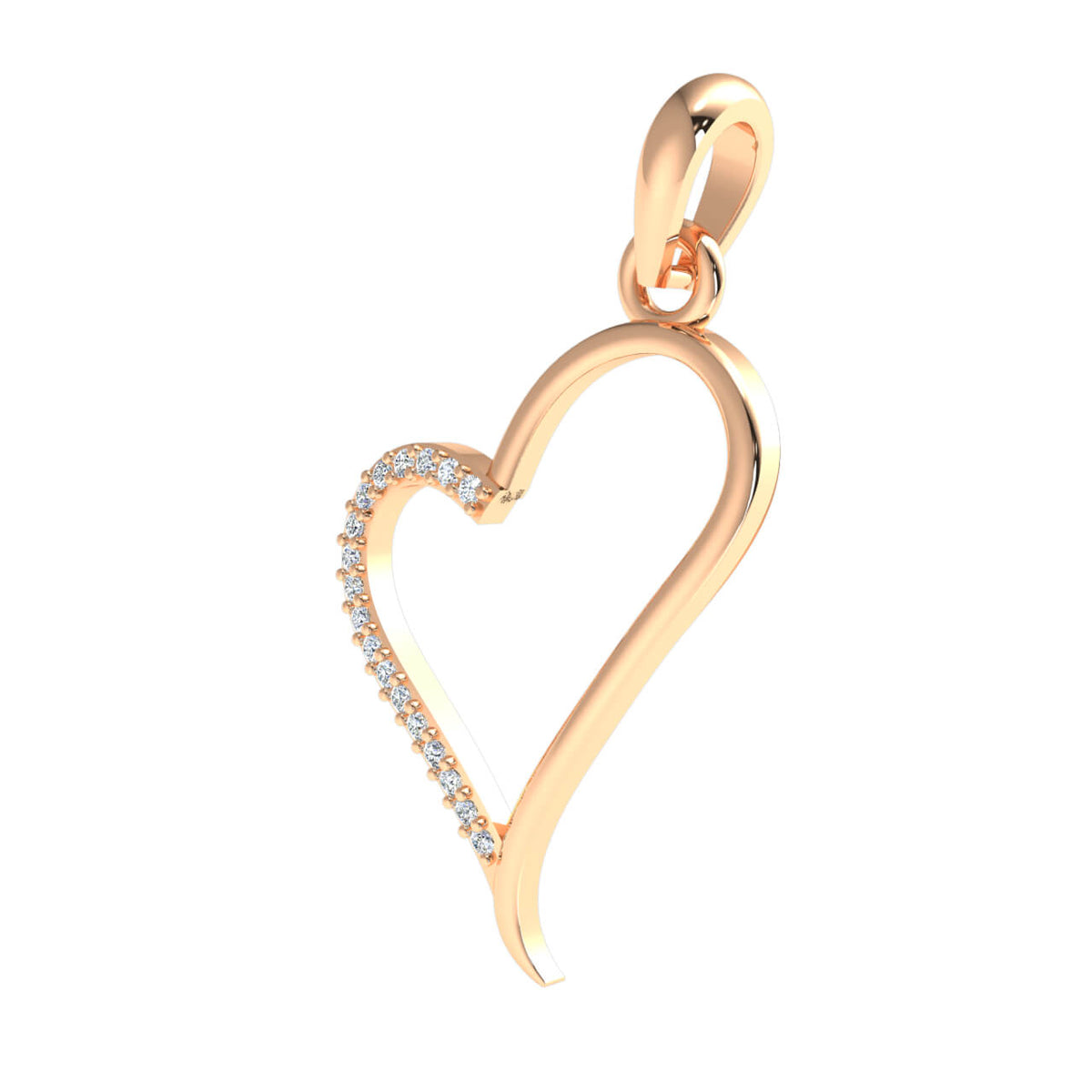 0.08 Ct Drop Heart Pendant For Women Round GH I1-I2 Diamond 925 Sterling Silver