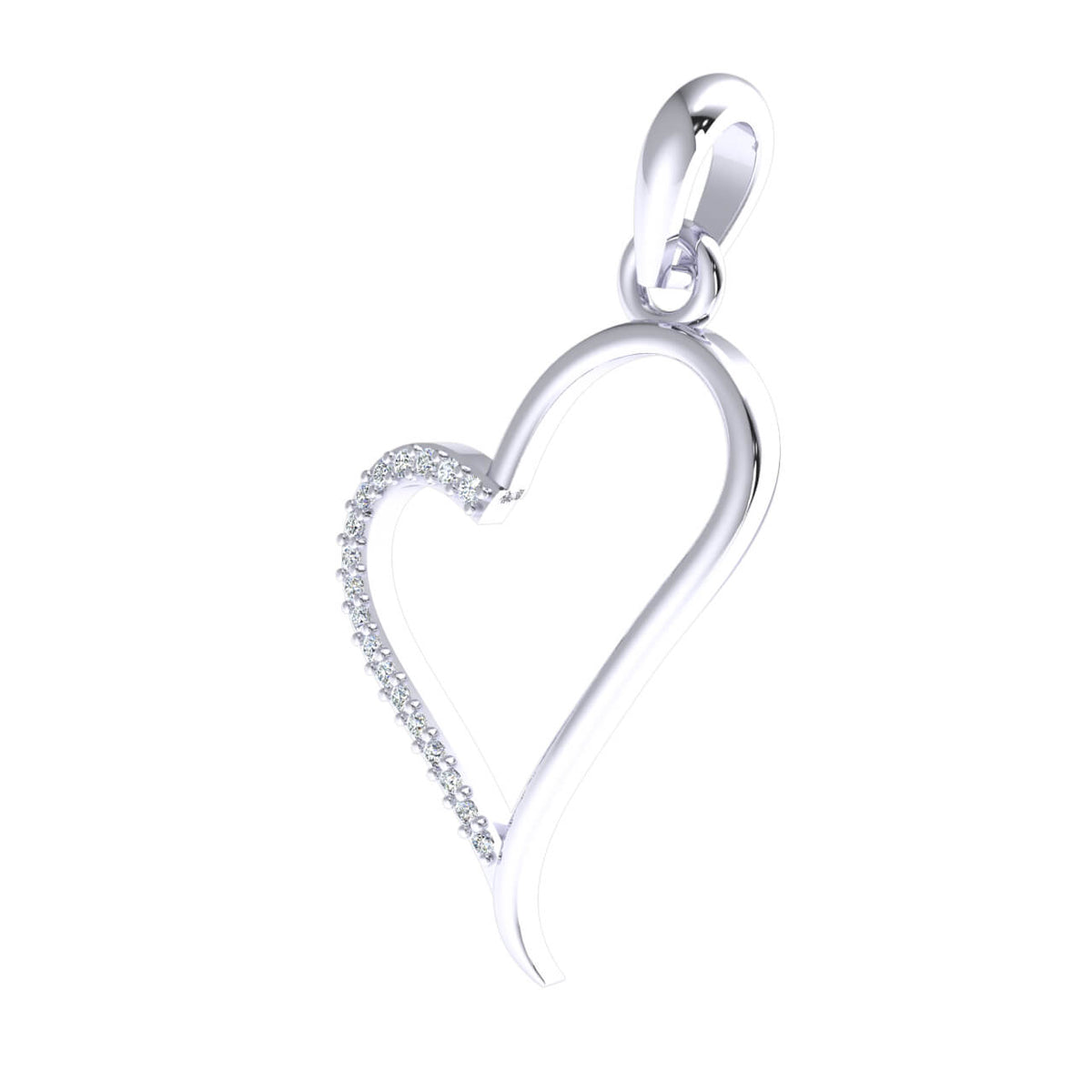 0.08 Ct Drop Heart Pendant For Women Round GH SI2 Diamond 14k Gold