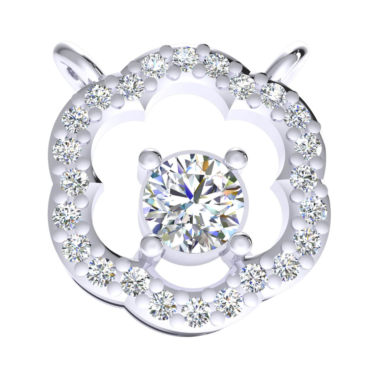 0.33 Ct Round GH SI2 Diamond Solitaire Fancy Pendant 14k Gold