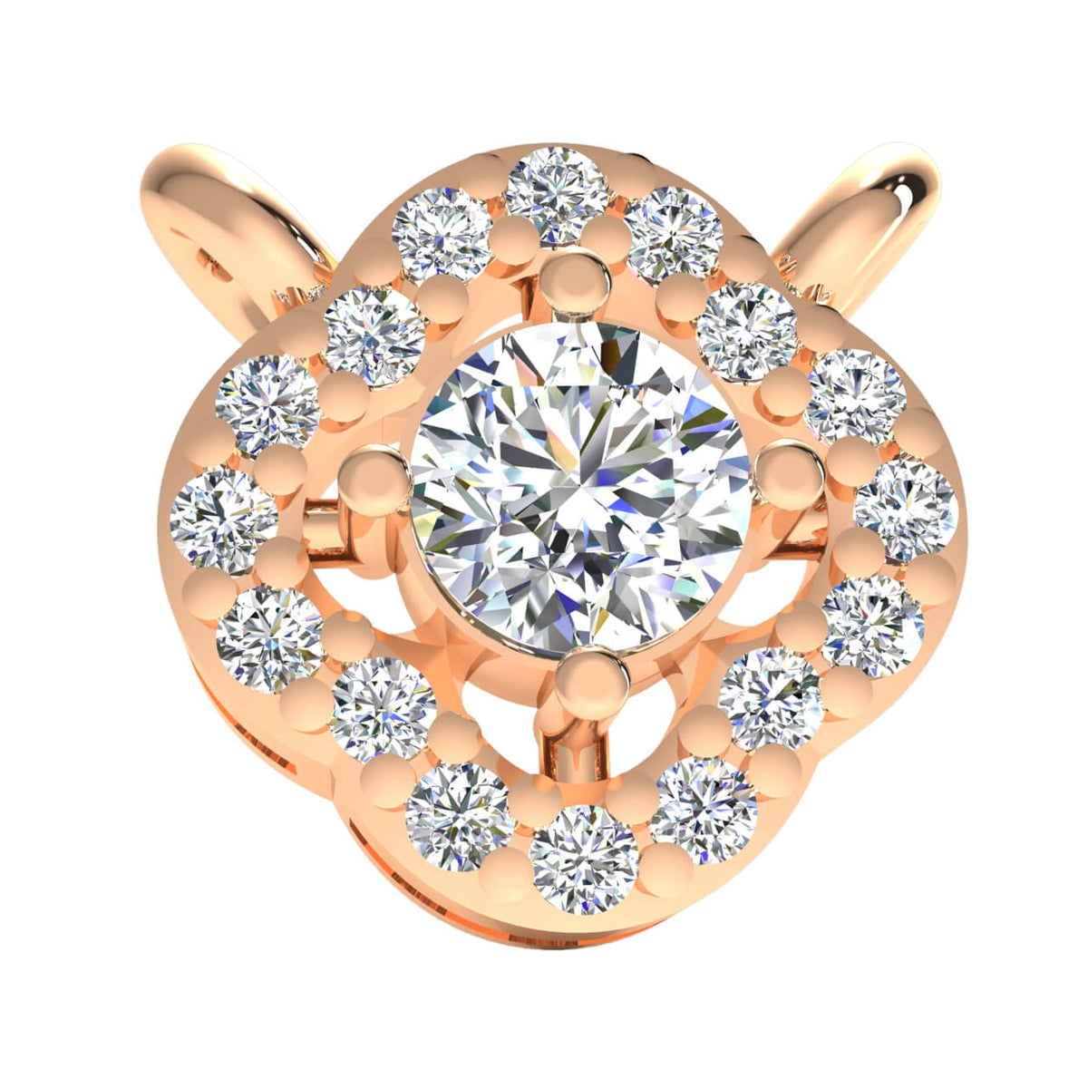 0.33 Ct Halo Drop Round GH SI2 Diamond Unisex Solitaire Pendant 14k Gold