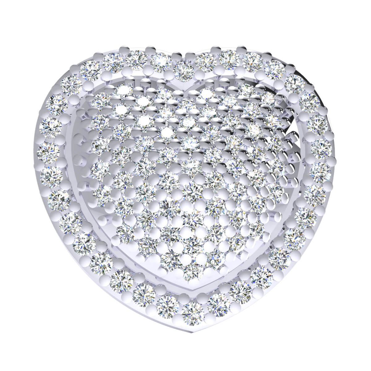 0.50 Ct Round GH I1-I2 Diamond Heart Pendant For Women 925 Sterling Silver