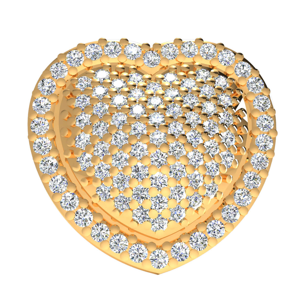 0.50 Ct Round GH SI2 Diamond Heart Pendant For Women 14k Gold