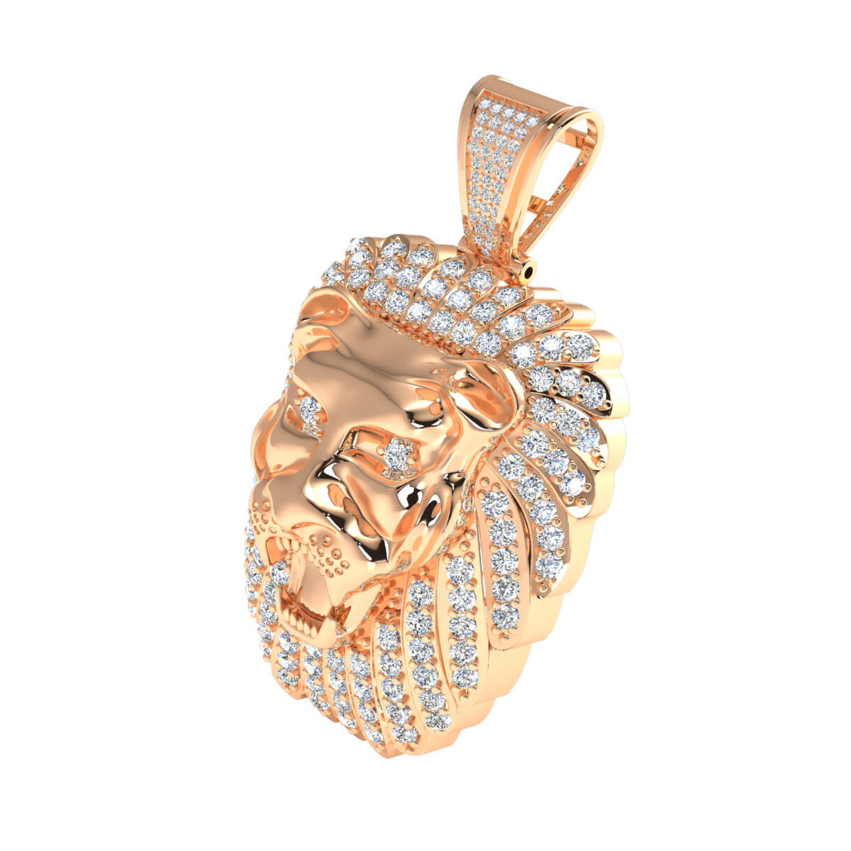 4.00 Ct Natural GH SI1 Lion Charm Pendant 14k Gold