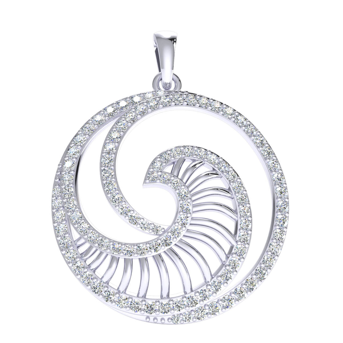 1.00 Ct Round GH I1-I2 Diamond Stylish Fancy Circle Pendant 925 Sterling Silver