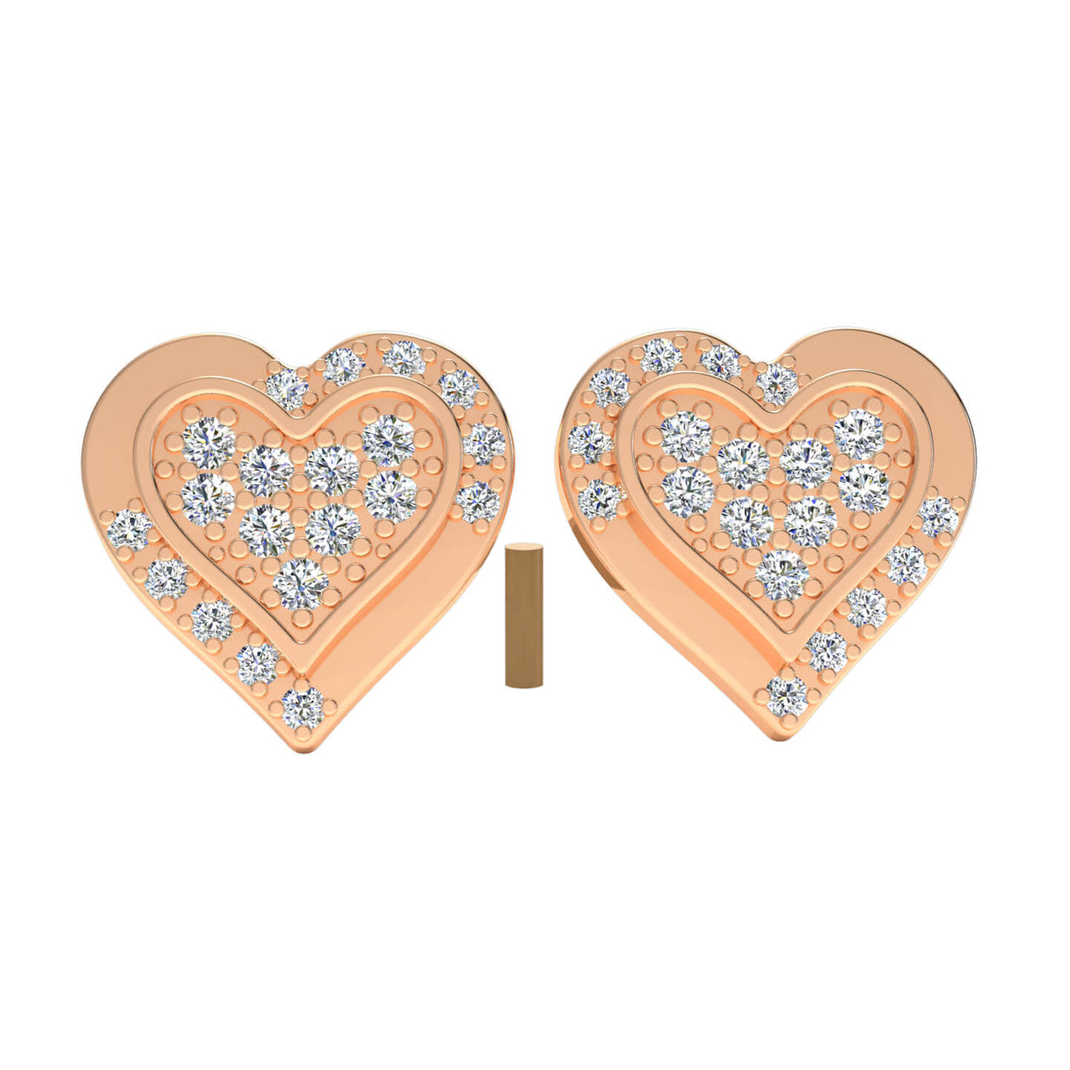 0.25 Ct Round GH SI2 Diamond Heart Womens Stud Earrings 14k Gold