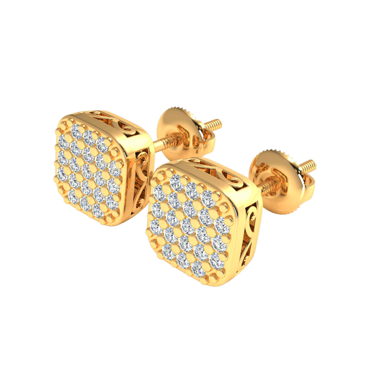 0.20 Ct Square Round H SI2 Diamond Stud Earrings For Womens 10k Gold